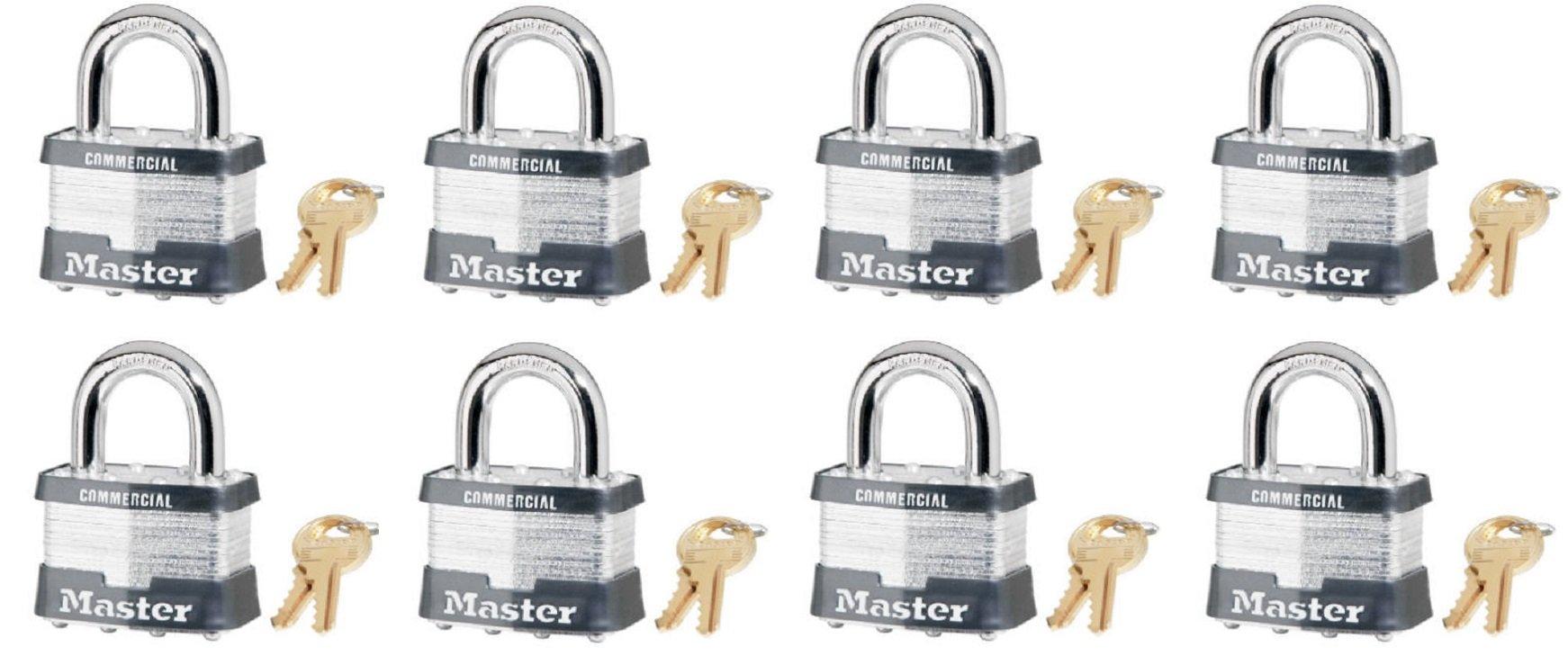 Master Lock 5KA-A478 2'' Laminated Steel Keyed Alike Padlock - Quantity 8