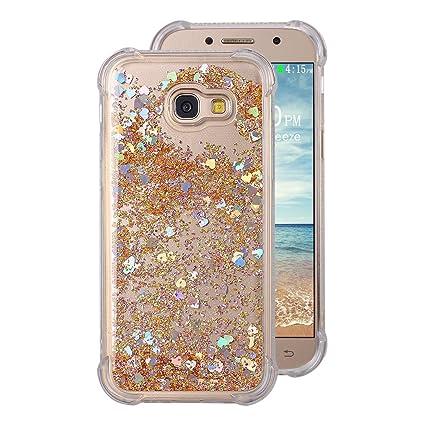 Carcasas Galaxy A5 2017 Liquid Móvil Teléfono Funda, Rosa Funda Samsung Galaxy A5 Silicona Transparent Bumper Case con Bling estrella brillante Case ...