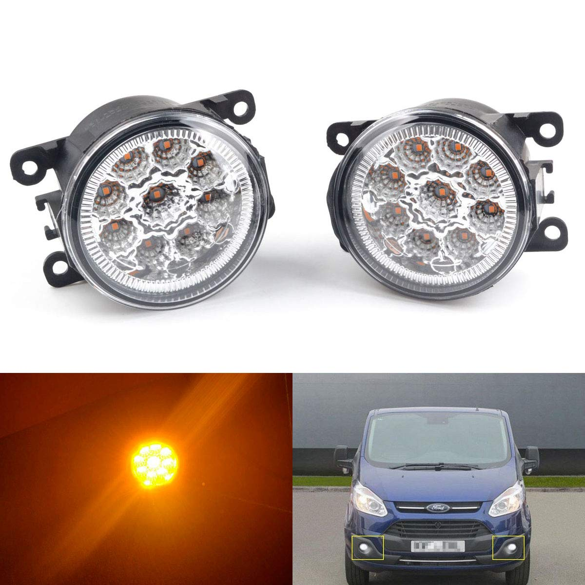 2Pcs 9 LED Round Front Fog Light DRL Daytime Running Light White