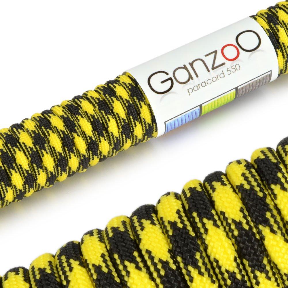 /Marca Ganzoo soportan hasta 250/kg Cuerda Trenzada de Nailon /Cuerda de Supervivencia multifuncionales paraca/ídas Paracord 550/ Color: Amarillo//Negro/ 50/ft Longitud Total 15/Metros Ganzoo/