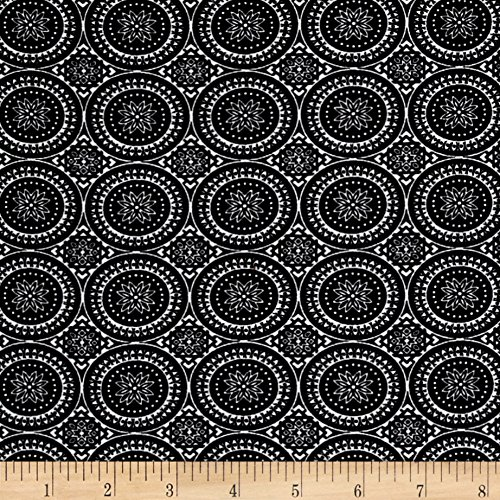 Neiman Brothers Rayon Stretch Bengaline Round Medallion Black/Ivory Fabric by The Yard (Stretch Medallion)