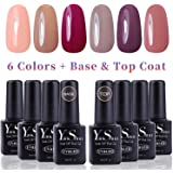 Vernis Gel Semi Permanent - Y&S UV LED Vernis à Ongles Gel Soak Off 8pcs x 8ml Débutant Kit, 6 Couleurs + Top et Base Coat, Lot Nude Populaire