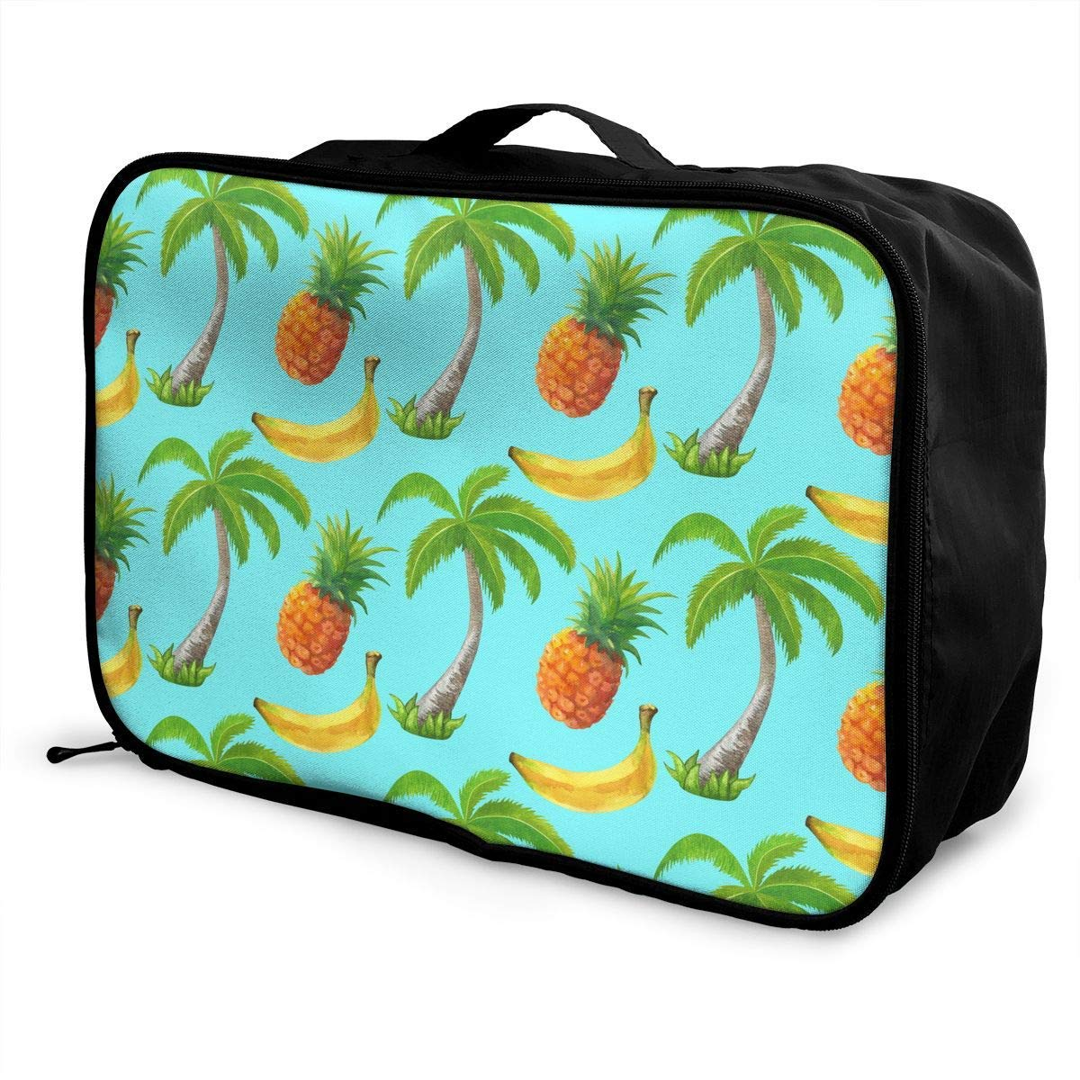 JTRVW Travel Luggage Trolley Bag Portable Lightweight Suitcases Duffle Tote Bag Handbag Coconut Palm Trees And Fruits Pattern