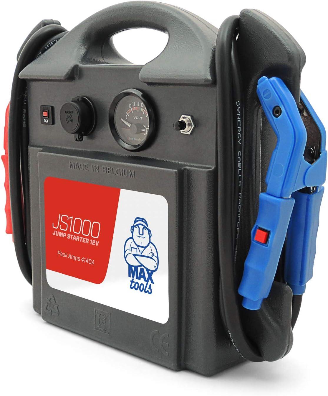 MAXTOOLS Booster D/émarreur de voiture avec batterie Plomb AGM et pinces /à lumi/ère LED JS1000 D/émarreur d/'urgence portable Professionnel 1380A 12V 22Ah avec 4140A de d/émarrage Jump starter