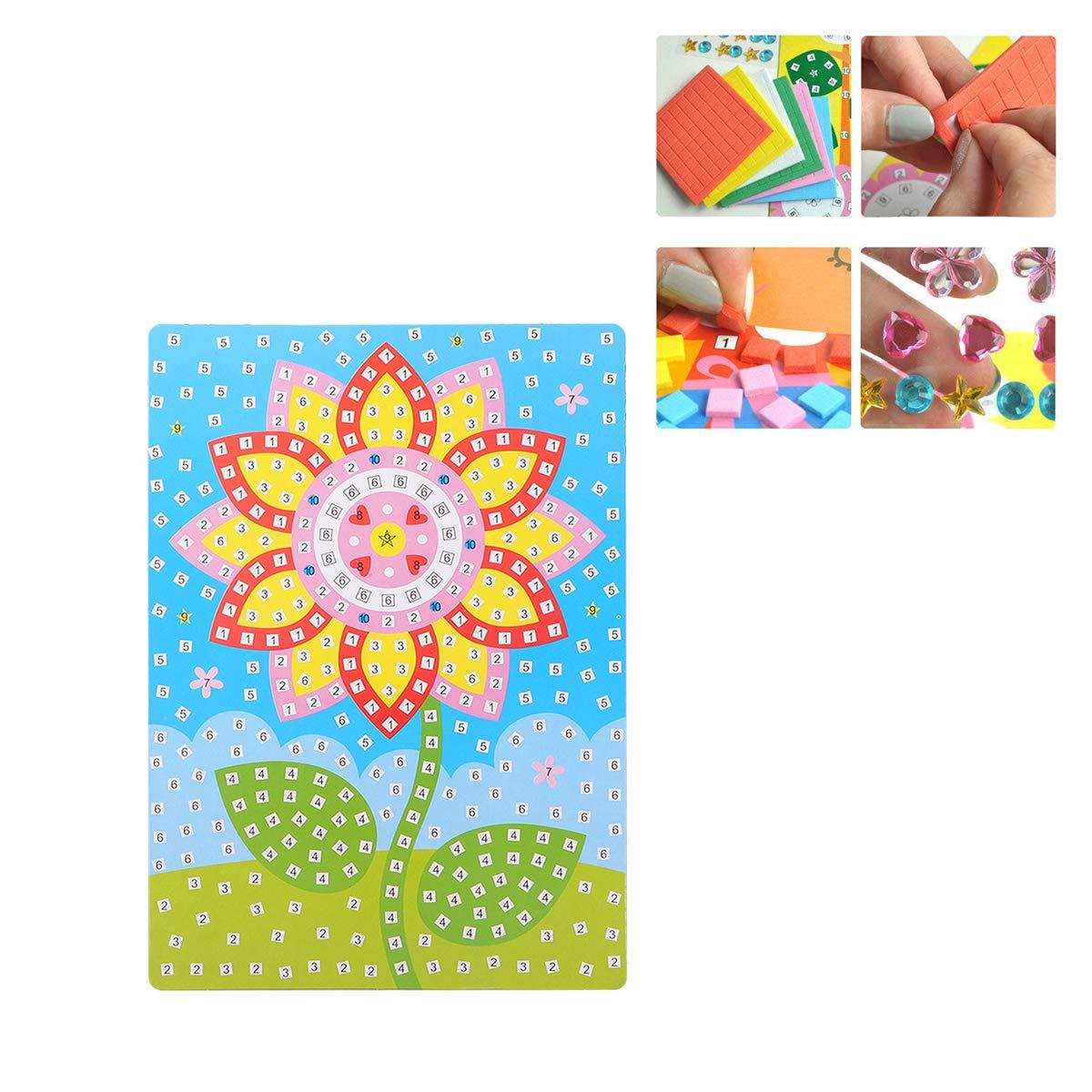 fiore SUPVOX Adesivo mosaico arte appiccicoso fai da te kit artistici fatti a mano per bambini 3d fai da te pinup picture crafting supplies for kindergarten