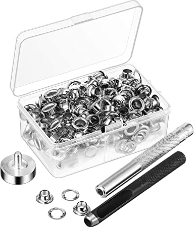 Grommet Tool Kit Grommet Setting Tool and 100 Sets Grommets Eyelets with Storag