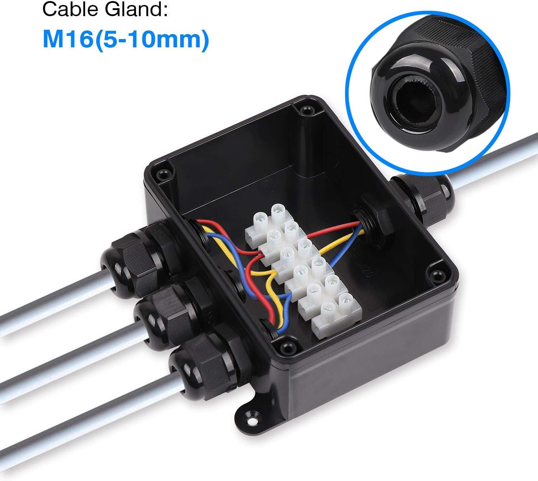 resistente al agua IP66 Chefi conector de luz macho M16 ABS + PVC rosca de cable 5 conector de cable exterior caja de conexi/ón de 4 v/ías 10 mm conector el/éctrico externo Caja de derivaci/ón