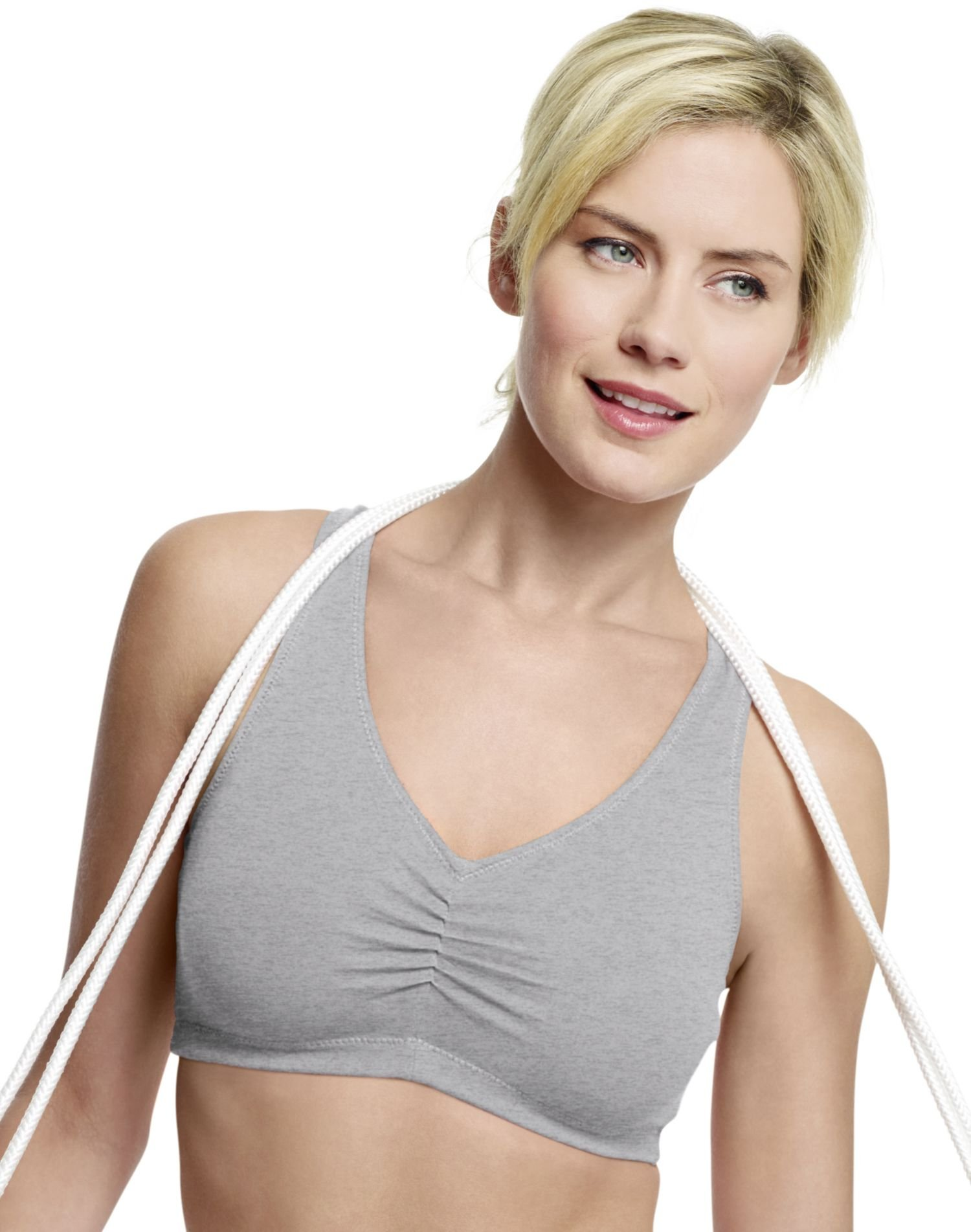 Hanes Comfortflex Fit Cotton Pullover Bra 2-Pack, Heather Grey/Grape Cordial, Small