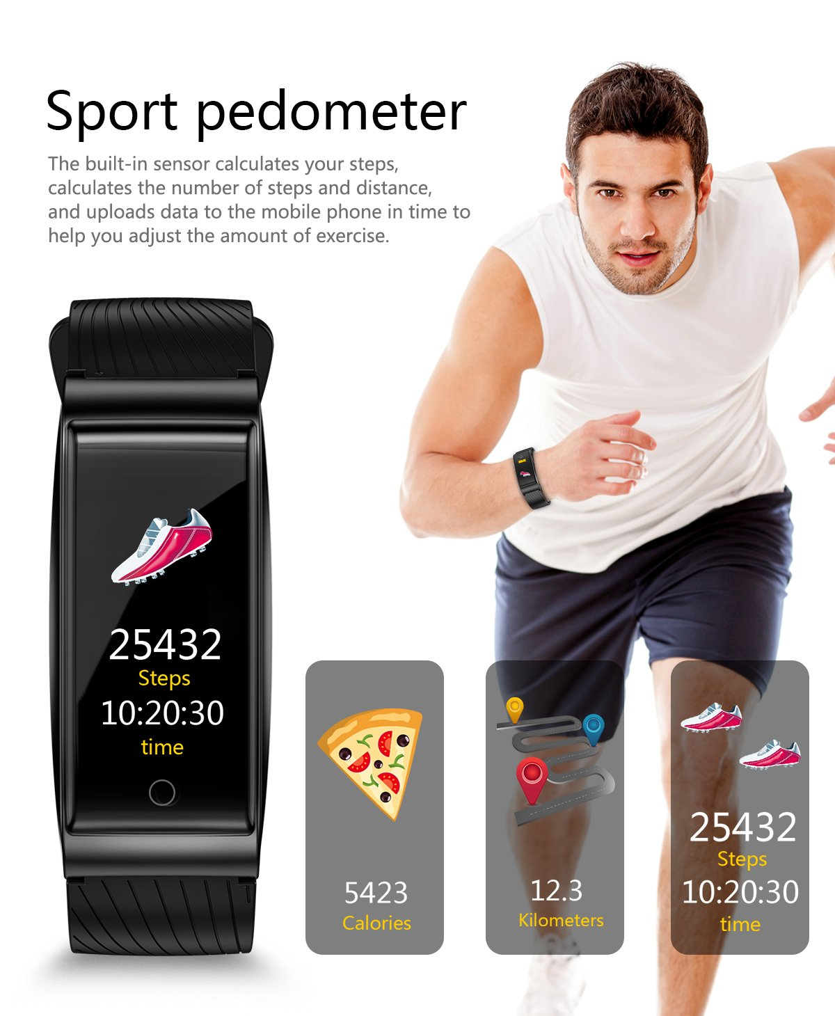 Fitness Trackers - Smart Watch - with Heart Rate Monitor, Waterproof Smart Fitness Band with Step Counter, Calorie Counter, Pedometer Watch for Step Counter for Women Kids Girls (Black)