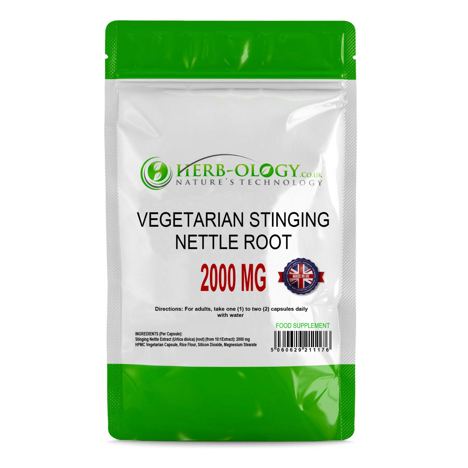 Herb-Ology Stinging Nettle Root Capsules | 120 Nettle Root Capsules (10:1 Extract) 2000mg | Suitable for Vegitarians & Manufactured in The UK in an ISO Certified Facility