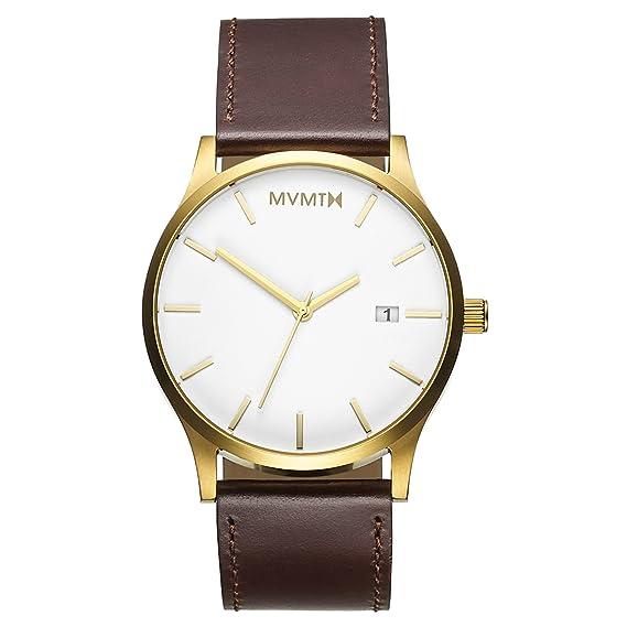 MVMT Relojes Caja de Oro con Correa de Cuero marrón Reloj de Hombre: Mvmt: Amazon.es: Relojes