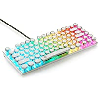 Retro RGB Mechanical Keyboard, E-Element Z-88 Vintage Typewriter-Style with Red Switch, LED Backlit, Compact 81 Keys Anti-Ghosting for PC&Mac, White