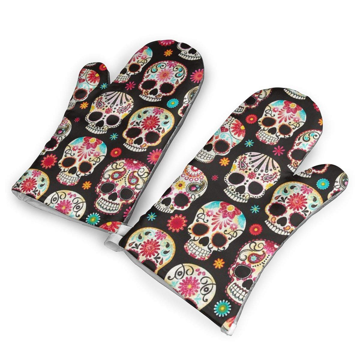 HEEHEE Day of The Dead Skulls Oven Mitts and Potholders Kitchen Counter Safe Mats,Advanced Heat Resistant Oven Mitt, Non-Slip Textured Grip Pot Holders
