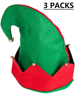 8aecd7f2025dd Moon Boat 3Pack Christmas Elf Felt Hat - Jingle Bells Xmas Holiday Party  Costume Favors Gifts