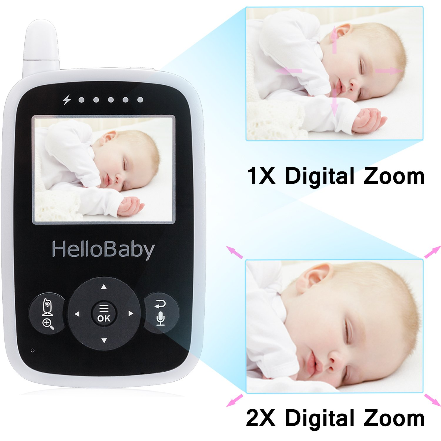 Hello Baby Wireless Video Baby Monitor with Digital Camera HB24, Night Vision Temperature Monitoring & 2 Way Talkback System, White by HelloBaby (Image #7)