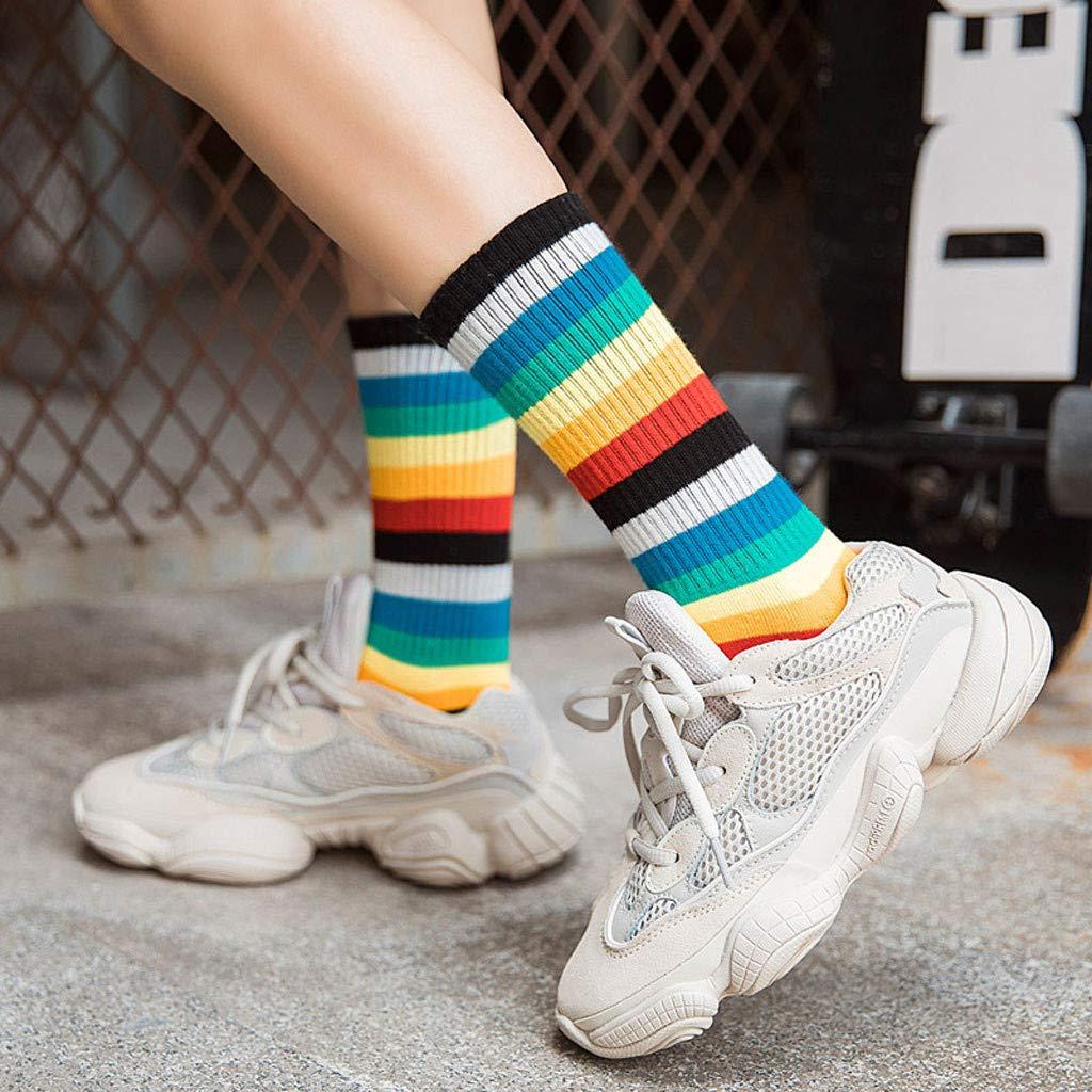 ANJUNIE Women Multicolor Stripe Socks Mid Tube Cotton Retro Style Rainbow Warm Sock