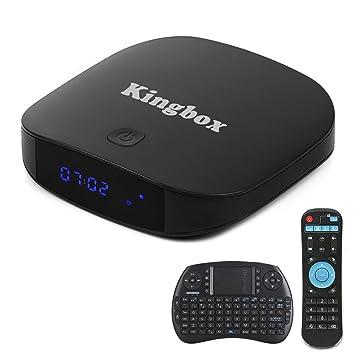 King Caja K1 Plus Android TV Box 6.0 Smart TV Box con Mini Wireless Teclado, 2 GB RAM + 8GB eMMC Procesador Quad-Core BT 4.0 2.4 GHz WiFi/LAN/HDMI/SPDIF admite 4 K HD: