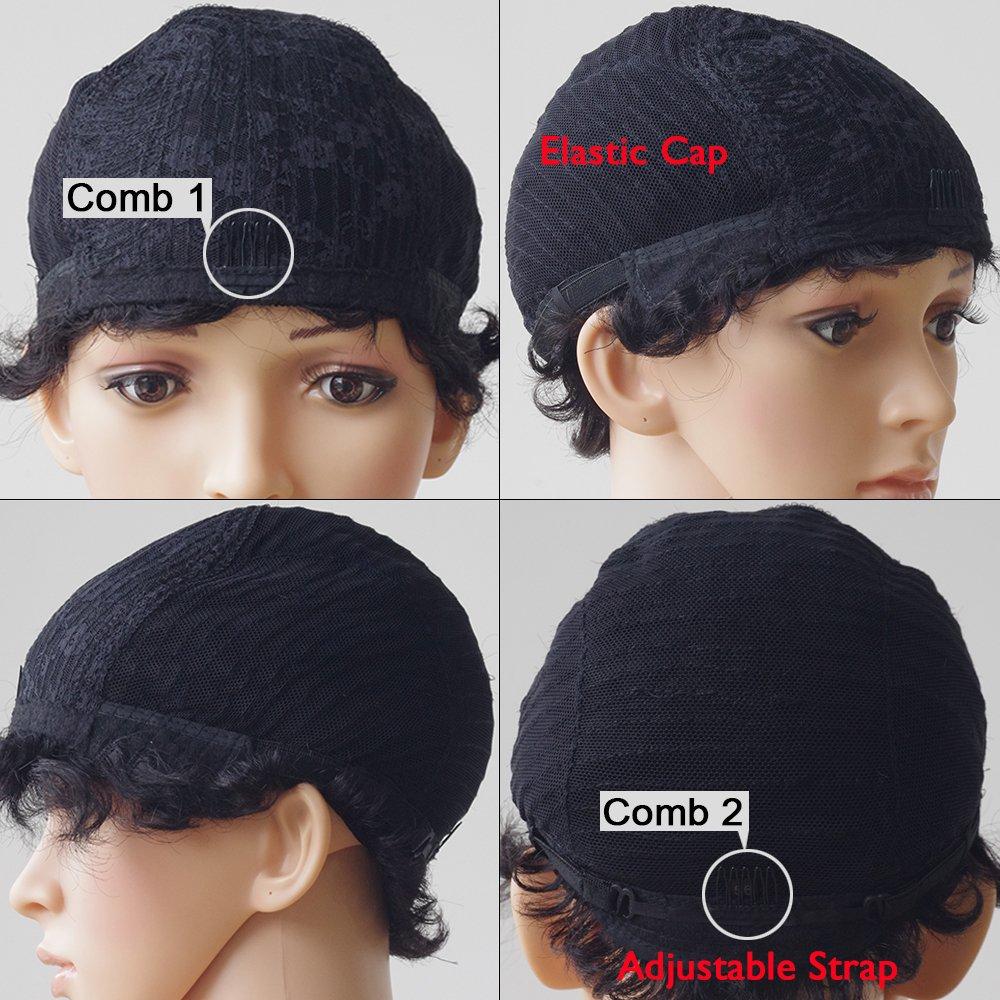 Real pelo peluca pelo negro de Brasil corta Human Hair Wig Natural Wave Gel ockt: Amazon.es: Belleza