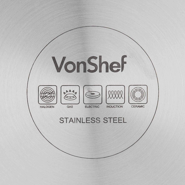 VonShef Sauteuse Antiadh/ésive en Acier Inoxydable de 26 cm /— Base en aluminium /— Convient aux plaques de cuisson /à induction et vitroc/éramiques