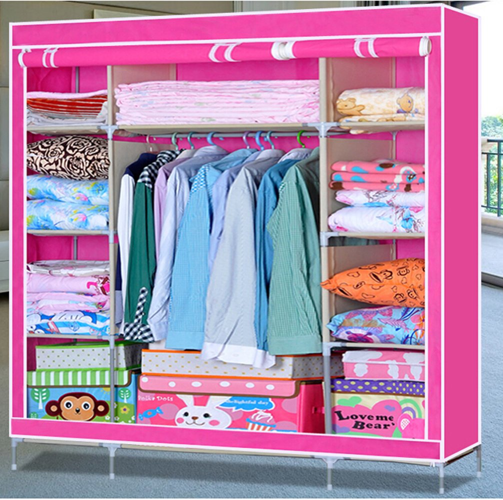 Generic New Super Large Portable Clothes Wardrobe Closet Organizer Folding Storage Rack Garment Home Furniture