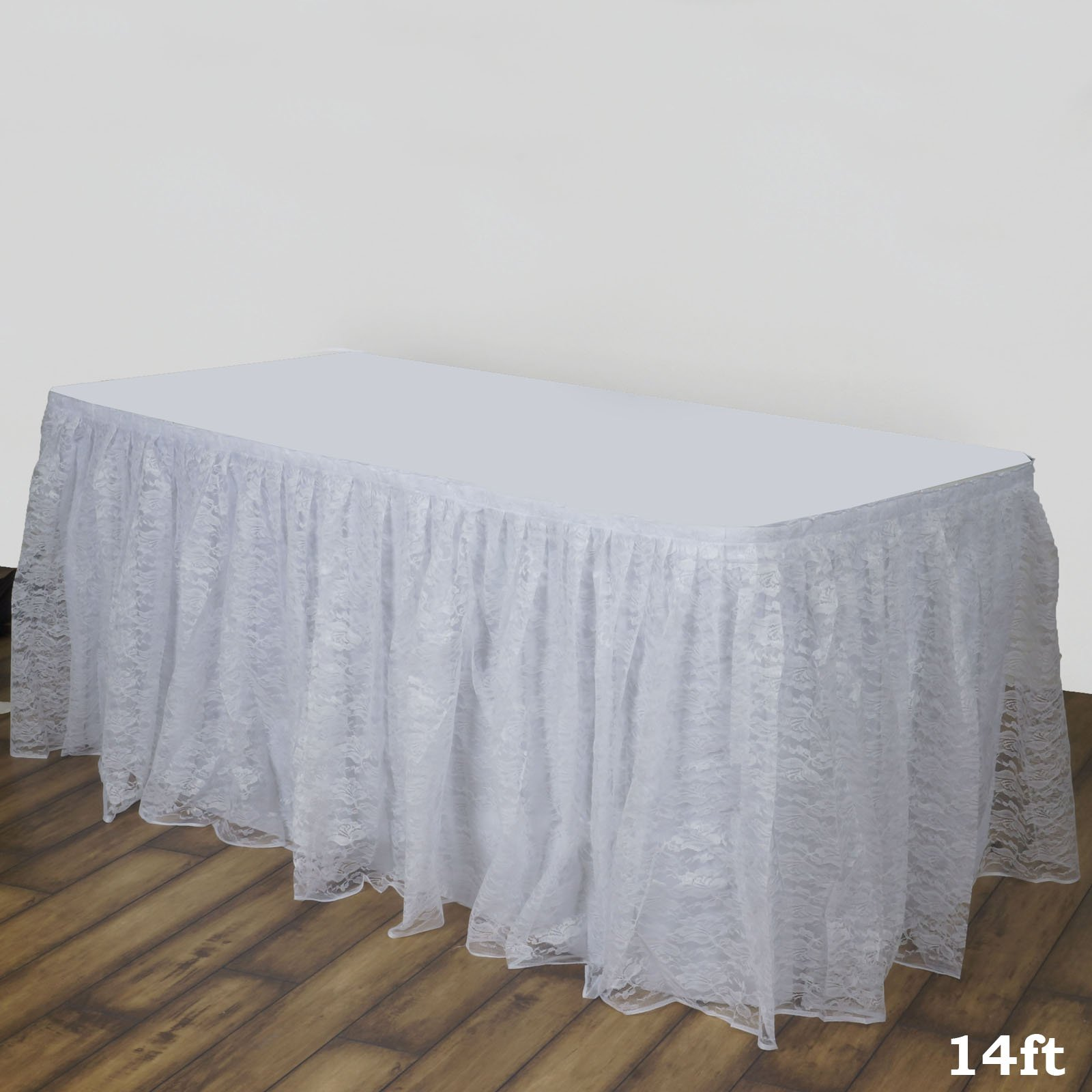 BalsaCircle 14 feet x 29-Inch White Premium Lace Banquet Table Skirt Linens Wedding Party Events Decorations Kitchen Dining