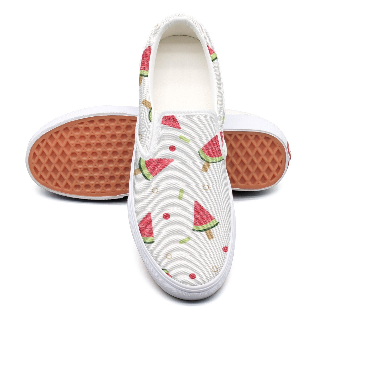 Fashion Young Women Watermelon Popsicle Clip Art Designer Slip On Skateboard Casual Sneakers Shoes