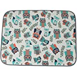 LHFLIVE Microfiber Owl Dish Drying Mat Gray 18 x 24 Inch Extra Large Gray Fox Double-sided Design