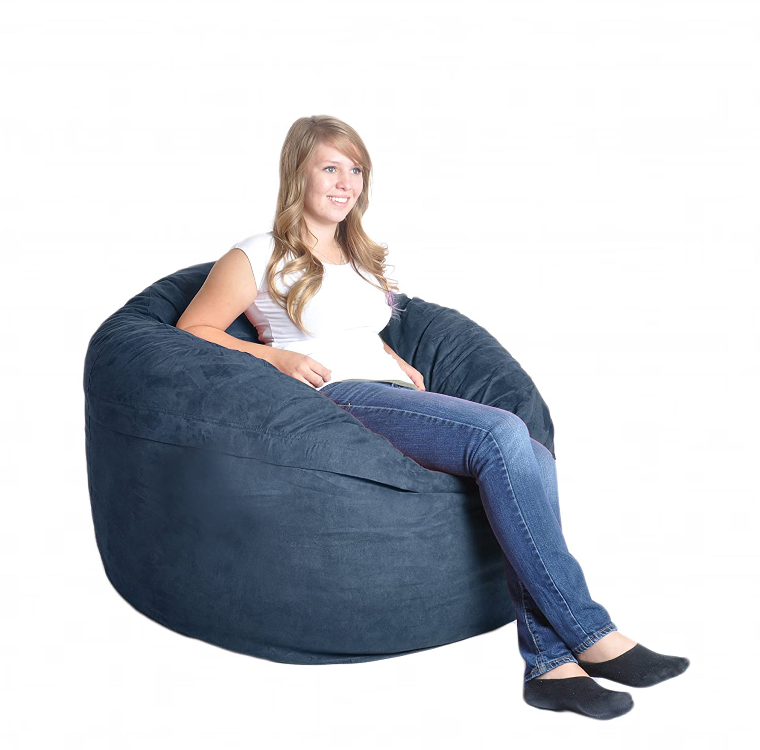 Amazon SLACKER Sack 4 Feet Foam Microsuede Beanbag Chair Large Chocolate Kitchen Dining