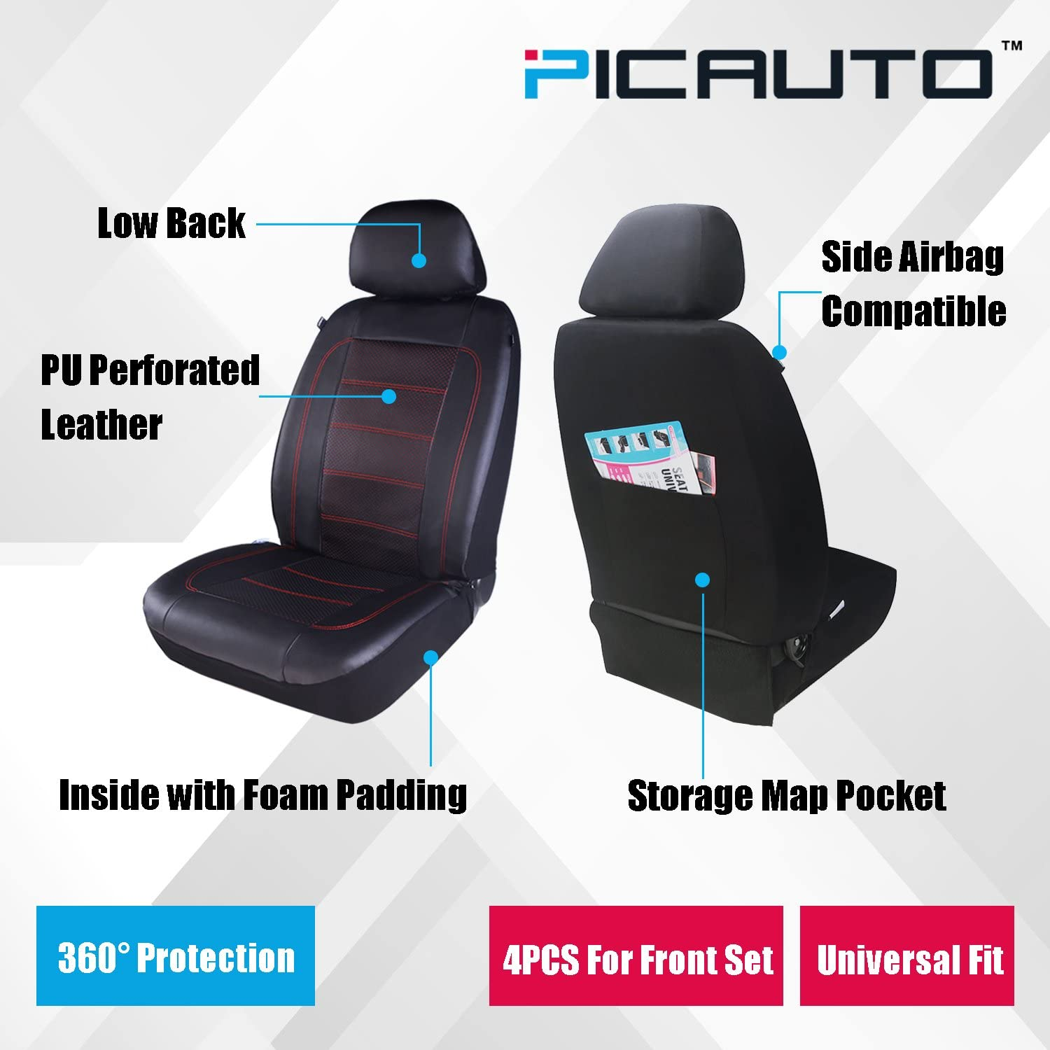 PIC AUTO Universal Front Car Seat Covers Low Back Black//Beige SUVs Trucks and Vans 3 Layered Mesh with PU Leather Airbag Compatible 4PCS Fit Most Cars Sport Seat Covers