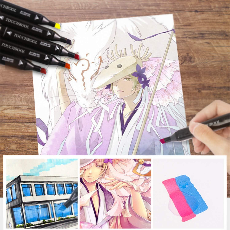 Alchilalart 80 Farbige Graffiti Stift Marker pens Set Twin Tip Textmarker Graffiti Pens Studenten Manga f/ür Marker Stift f/ür Sketch Design Drawing mit Tragetasche