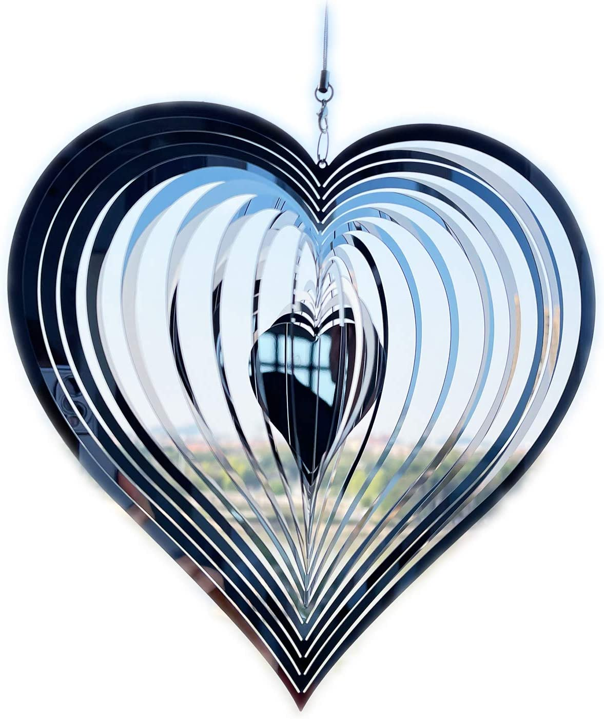 Nother Stainless Steel Wind Spinner Worth Gift Indoor Outdoor Garden Decoration Crafts Ornaments,3D Heart Pattern Crafts Ornaments Metal Wind Sculptures & Spinners Whirligig Gifts with 8inch