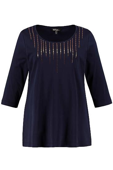 70a35dfa339 Ulla Popken Femme Grandes Tailles T-Shirt col Rond avec Sequins Devant en  Coton Bleu