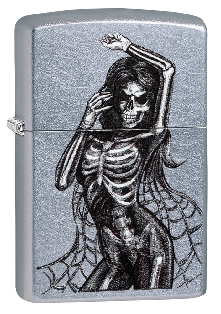 Zippo Sexy Skeleton Pocket Lighter, Street Chrome