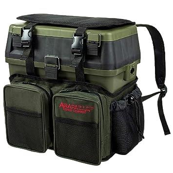 Arapaima Fishing Equipment® Caja de Pesca | Bolsa con Compartimentos | Caja Asiento | Mochila para Almacenamiento