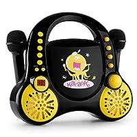auna Rockpocket • Kinder Karaoke Set • Karaoke Anlage • Karaoke Player • CD • Stereolautsprecher • programmierbar • Wiederholfunktion • Batteriebetrieb möglich • 2 x dynamisches Mikrofon • schwarz