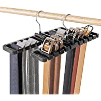 DIOMMELL 2 PCS Belts Rack, Storage Organizer, Hanger, Holder - Closet tie Racks Hangers Sturdy for Men Women, Black
