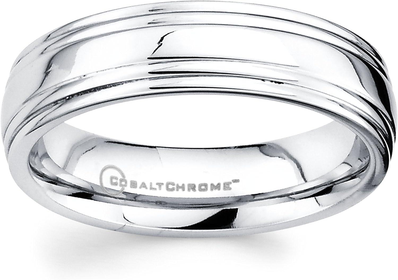 Boston Bay Diamonds Men's 6MM Comfort Fit Cobalt Chrome Wedding Band Ring w/Double Raised Center