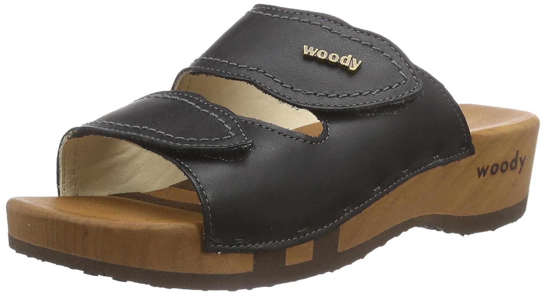 Woody Melanie 11520 - Zuecos de cuero para mujer 38 EU Negro (Schwarz 002)