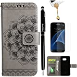 S7 Case, Flip Book Style Embossed Galaxy S7 Wallet Case PU Leather Detachable Cover Soft TPU Interior Magnetic Shell with Dust Plug Stylus Screen Protector for Samsung Galaxy S7 by Badalink (Gray)
