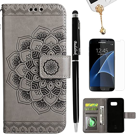 the latest 627f0 fbc2a S7 Case, Flip Book Style Embossed Galaxy S7 Wallet Case PU Leather  Detachable Cover Soft TPU Interior Magnetic Shell with Dust Plug Stylus  Screen ...