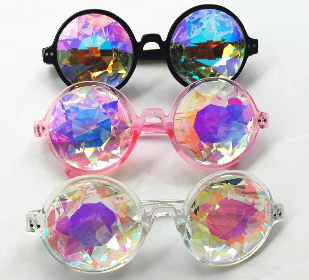 Amazon Prime Deals,Black/Pink/White Black Kaleidoscope Glasses- Rainbow Rave Prism Diffraction by Careonline (Image #7)