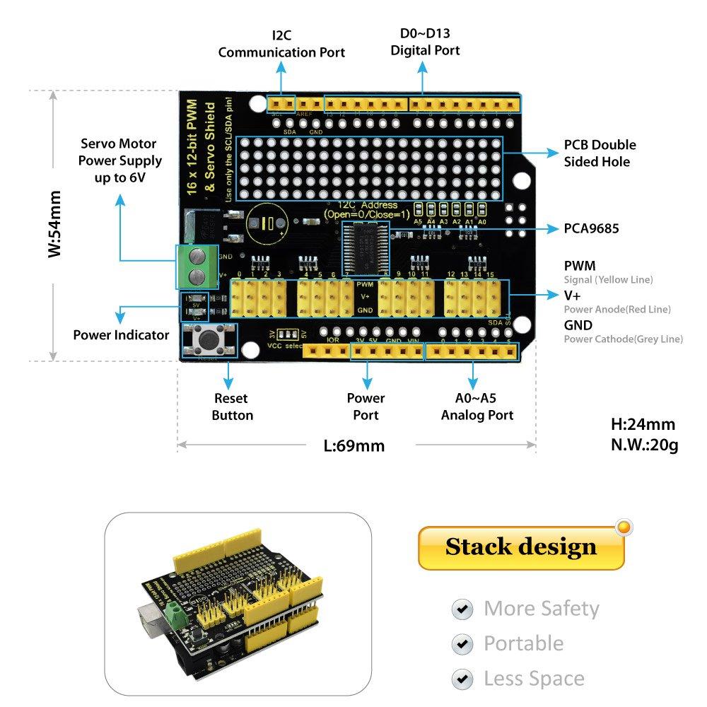 KEYESTUDIO 16-Channel 12-bit Servo Motor Drive Shield for Arduino