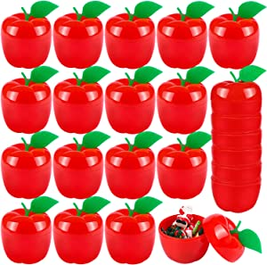 URATOT 24 Pieces Red Apple Containers Toy Plastic Filled Bobbing Apple Party Favor Supplies Christmas Tree Decorations for Gift, Party
