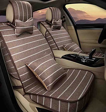 BMDHA Car Seat Covers Linen Material Full Set 5 Seats Universal Cushion Suitable For Year Round Brown Bivy Sacks