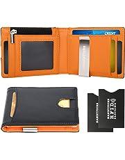 88e8e9ea68 Portafoglio Uomo Vera Pelle Blocco RFID, Porta Carte di Credito con Clip  per Contanti,