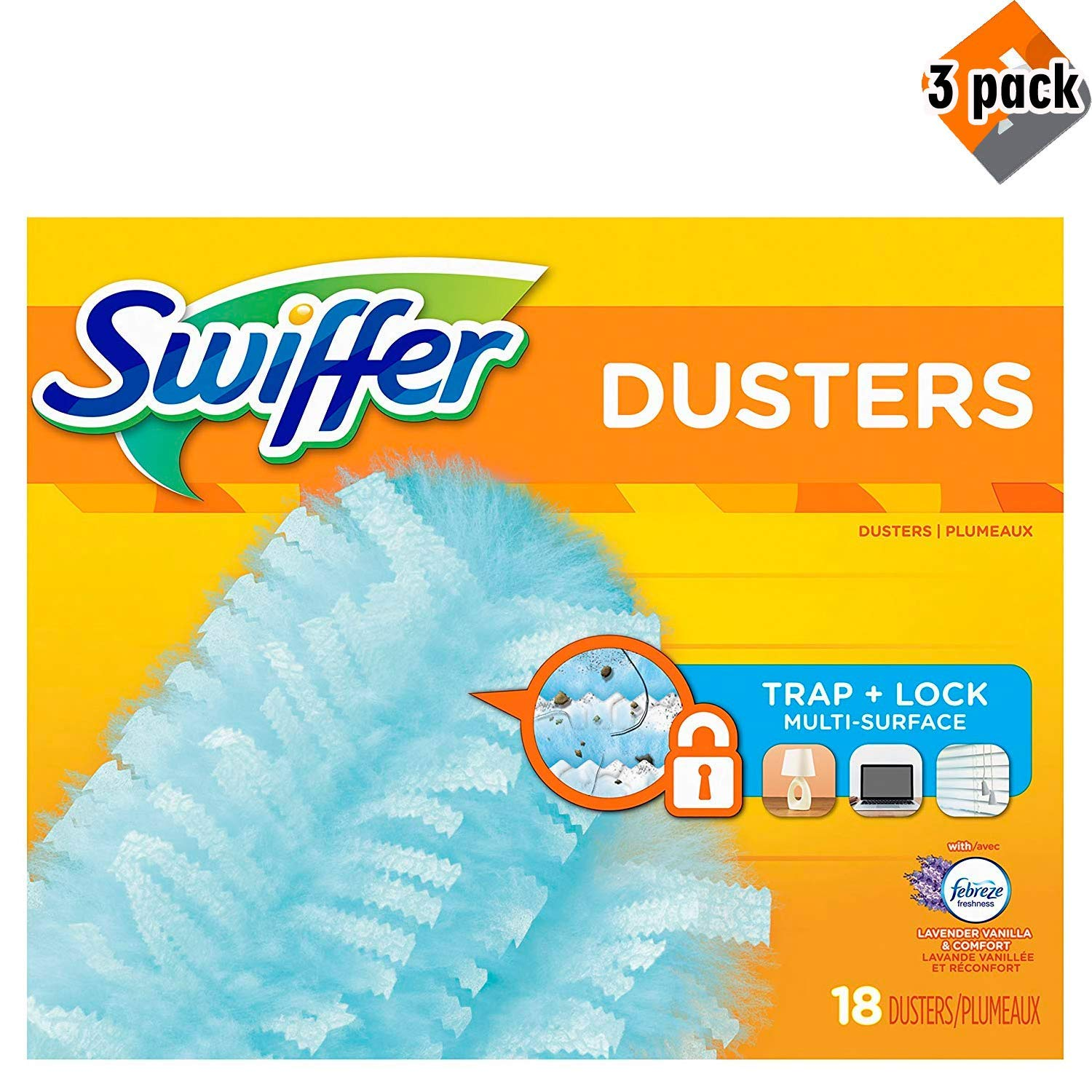 Swiffer 180 Dusters, Multi Surface Refills with Febreze Lavender Vanilla & Comfort Scent, 18 Count, 3 Pack by Swiffer