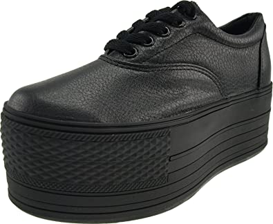0ff013248fa2 Maxstar Women s C60 5 Holes Platform PU Low Top Sneakers Black 5.5 B(M)