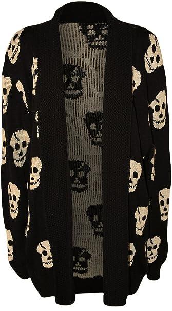 WearAll Women's Plus Size Skull Long Sleeve Knitted Cardigan ...