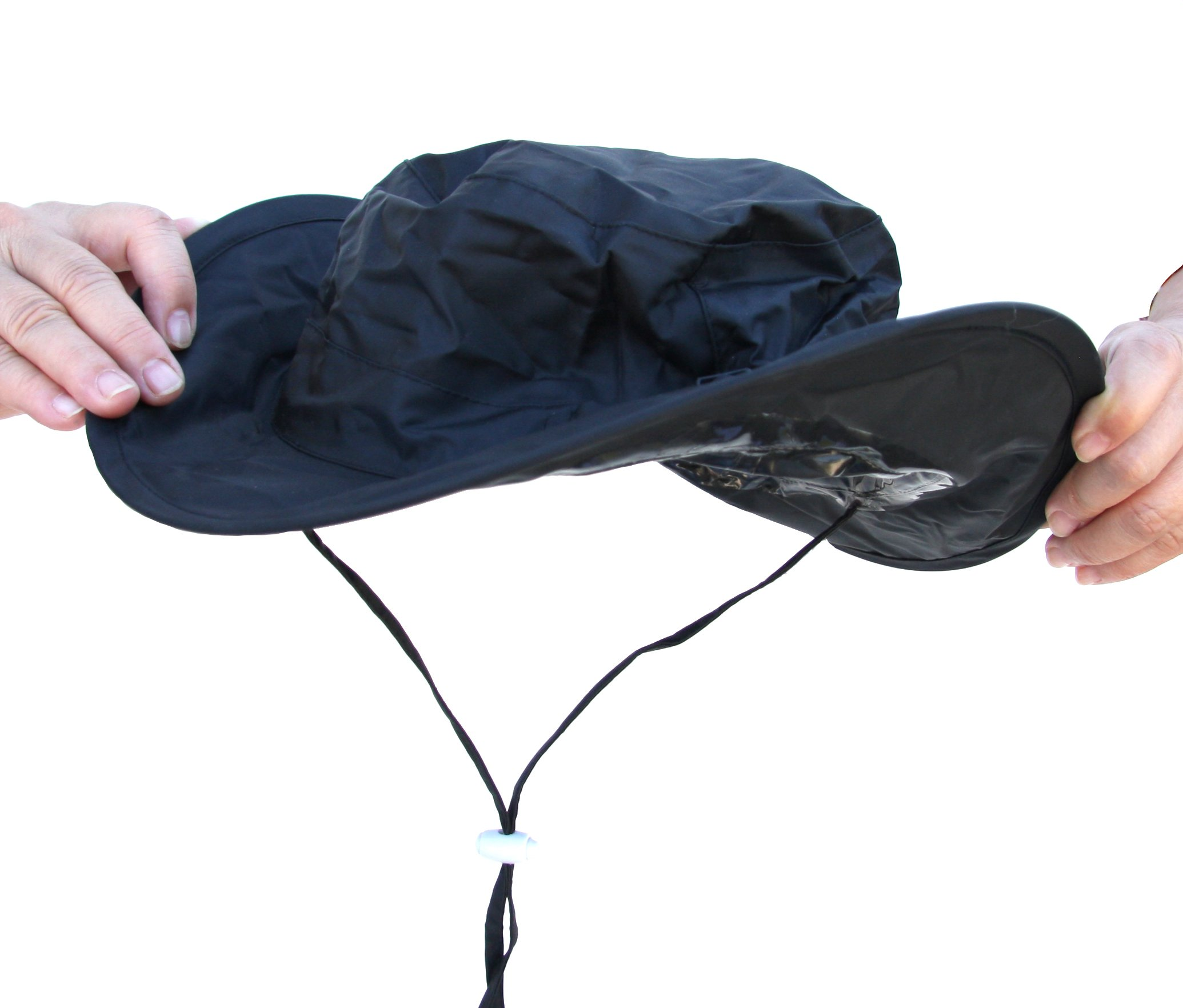 Twist-and-Fold Rain Hat, Unisex, 13 in diameter brim, Black