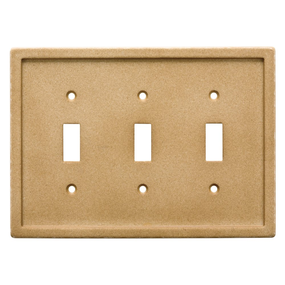 Franklin Brass W30359-365-C Dark Sand Tumbled Textured Tile Triple Switch Faux Stone Wall Plate
